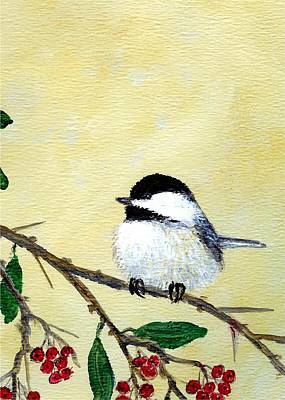 Chickadee Set 4 - Bird 2 - Red Berries Art Print