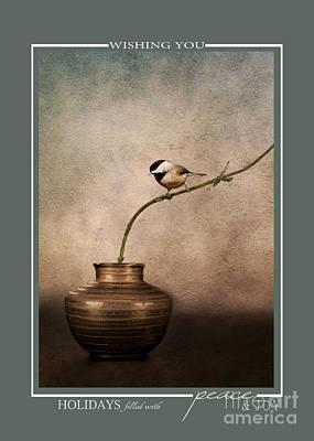 Photograph - Chickadee Songbird Christmas Cards by Jai Johnson