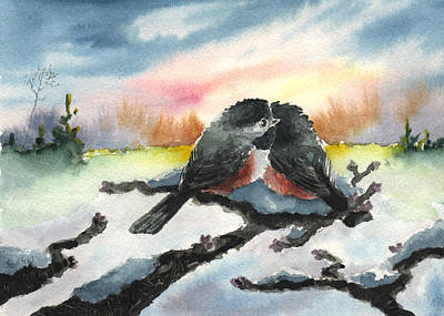 Print featuring the painting Chickadee Sunset Snuggle by Sean Seal