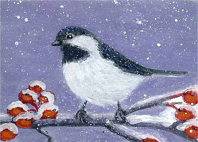 Painting - Chickadee Winter by Fran Brooks