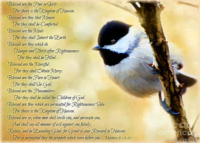 Photograph - Chickadee With Digital Paint And Verses by Debbie Portwood