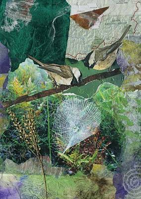 Chickadee Mixed Media - Chickadees And Cobwebs by Connie Mclaren