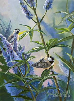 Chickadees And Lilac Art Print by Michael Ashmen
