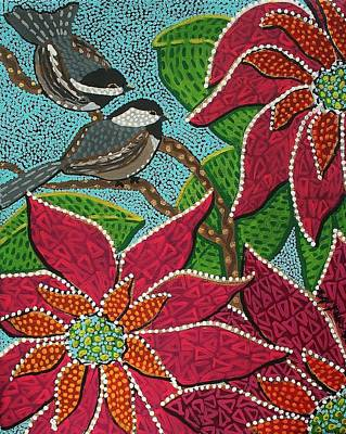 Painting - Chickadee's At Winter Time by Kelly Nicodemus-Miller