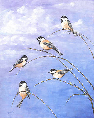 Painting - Chickadees by Carl Genovese