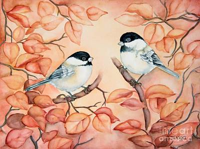Chickadees Art Print by Inese Poga