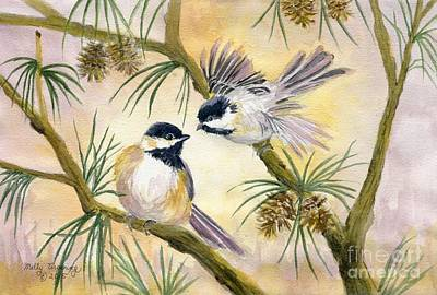 Painting - Chickadees by Melly Terpening