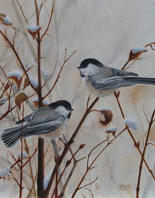 Birds In Winter Painting - Chickadees by Tammy  Taylor