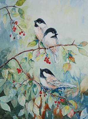 Painting - Chickadees Three by Marilyn  Clement