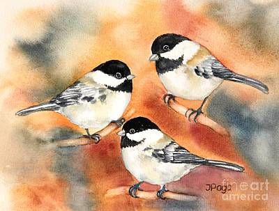 Painting - Chickadees Trio by Inese Poga