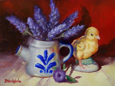 Painting - Chicken And Lavender Still Life by Margaret Stockdale
