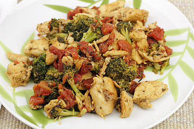 Chicken Broccoli And Tomatoes Dinner Art Print