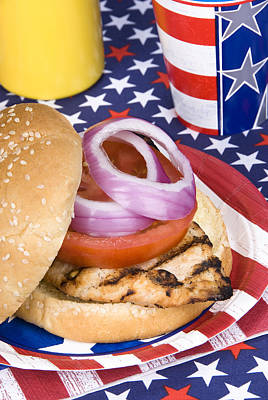 Chicken Burger On Fourth Of July Art Print by Joe Belanger