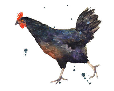 Chickens Painting - Chicken Chase by Alison Fennell