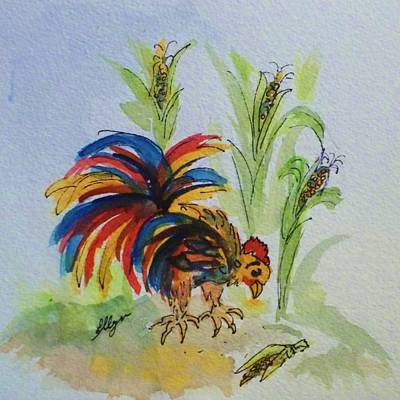 Painting - Chicken - Colorful Chicken Pecking Corn by Ellen Levinson