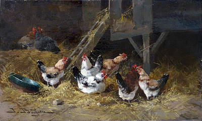 Rooster Painting - Chicken Coop Circa 1880 by David Lloyd Glover