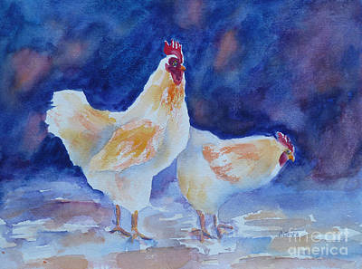 Painting - Chicken Duo by Carolyn Jarvis