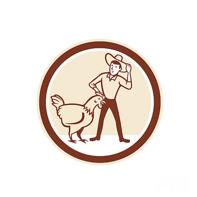 Chicken Farmer Feeder Circle Cartoon Art Print by Aloysius Patrimonio