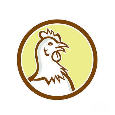 Poultry Digital Art - Chicken Hen Head Side Circle Cartoon by Aloysius Patrimonio