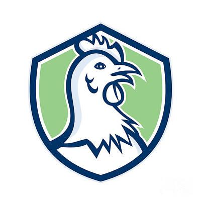 Poultry Digital Art - Chicken Hen Head Side Shield Cartoon by Aloysius Patrimonio