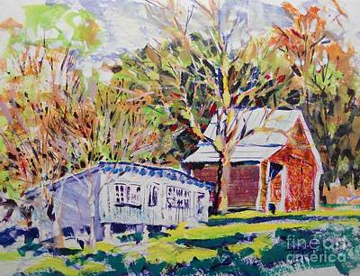 Loose Painting - Chicken House And Wagon Shed by Larry Lerew