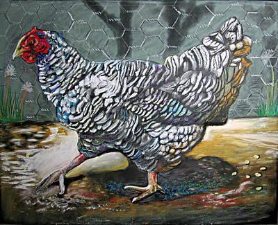 Chicken In The Pen Art Print