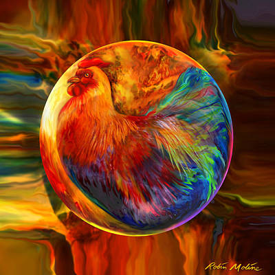 Decorative Digital Art - Chicken In The Round by Robin Moline