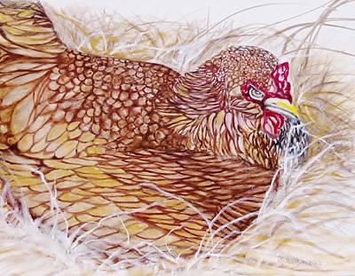 Chicken Laying Egg Art Print