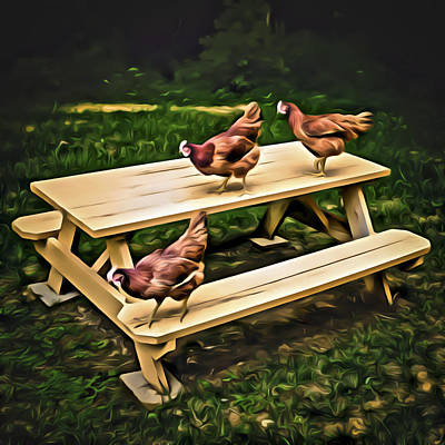 Digital Art - Chicken Picnic by Patrick M Lynch