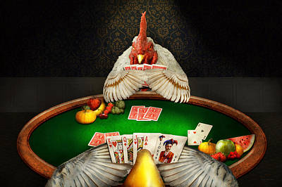 Photograph - Chicken - Playing Chicken by Mike Savad