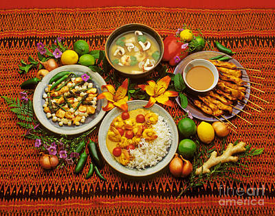 Photograph - Chicken Satay Shrimp Soup And Shrimp Curry by Craig Lovell