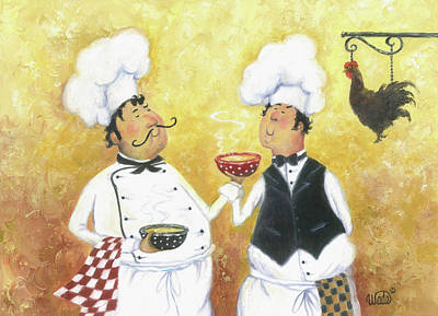 Italian Kitchen Painting - Chicken Soup Chefs by Vickie Wade