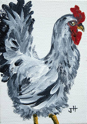 Chicken Stroll Rooster Painting By Jaime Haney Art Print