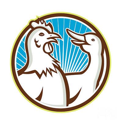 Poultry Digital Art - Chicken With Goose Cartoon by Aloysius Patrimonio