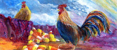 Art Print featuring the painting Chickens And Candy Corn by Lenora  De Lude