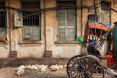 Chickens And Rickshaw On Street Art Print by Peter Adams