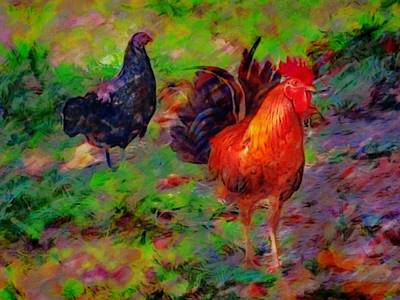 Painting - Chickens At Altona Lagoon - Horizontal  by Lyn Voytershark