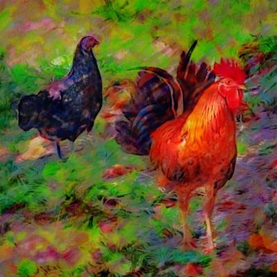 Painting - Chickens At Altona Lagoon - Square by Lyn Voytershark
