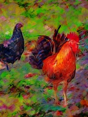 Painting - Chickens At Altona Lagoon - Vertical by Lyn Voytershark