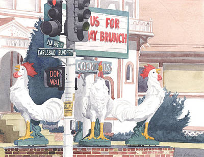 Brick Buildings Painting - Chickens At Twin Inns Carlsbad by Mary Helmreich