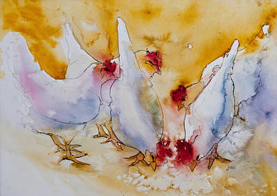 Painting - Chickens Feed by Jani Freimann