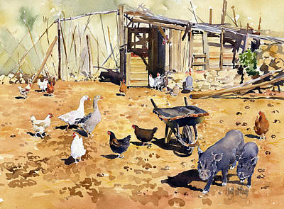 Chickens Geese And Little Pigs Art Print by Margaret Merry