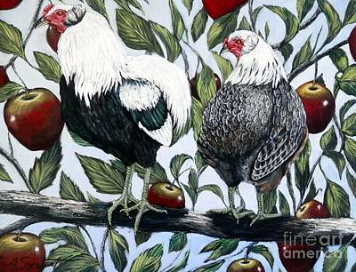 Rooster And Hen Painting - Chickens In An Apple Tree by Amanda Hukill