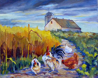 Chickens In The Cornfield Art Print by Peggy Wilson