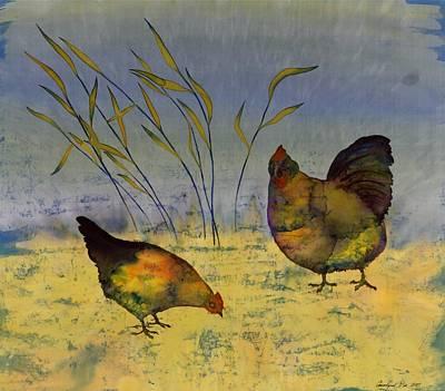 Chickens On Silk Art Print by Carolyn Doe