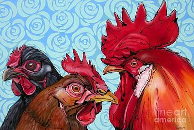 Colorfull Painting - Chickmeeting by Erlinde Ufkes Stephanus