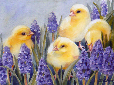 Painting - Chicks Among The Hyacinth by Janet  Zeh