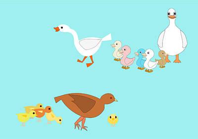 Chicks And Ducks Art Print