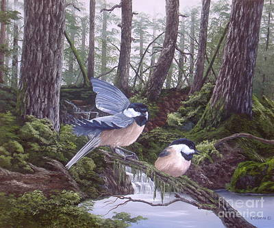 Michael Allen Painting - Chicks In The Forest by Michael Allen