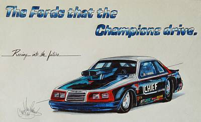 Drawing - Chief Auto Racing Car by Cheryl Poland